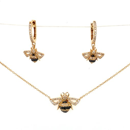 Jewelry | Gold Diamond Bee Earrings and Necklace Set | Shop Spa Radiance | San Francisco